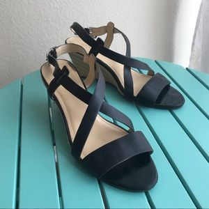 Cole Haan Black Leather Strappy Rope Wedges